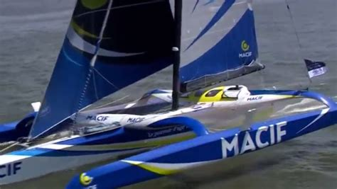 bureau macif macif trimaran crosses finish line of the bridge race