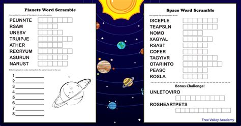 space themed  planets word scramble puzzles