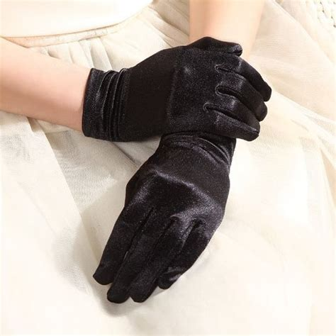 Black Satin Gloves Wrist Length For Ladies (Black)   Buy