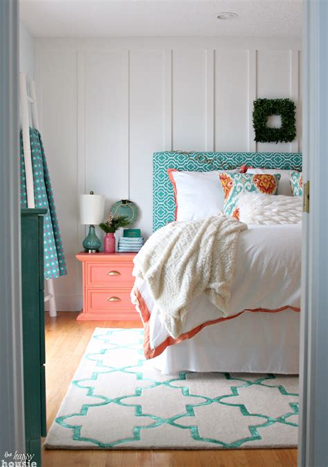 turquoise coral master bedroom inspiration