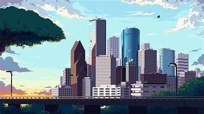 Skyline Houston Animated Pixelart Town Oc Aesthetics
