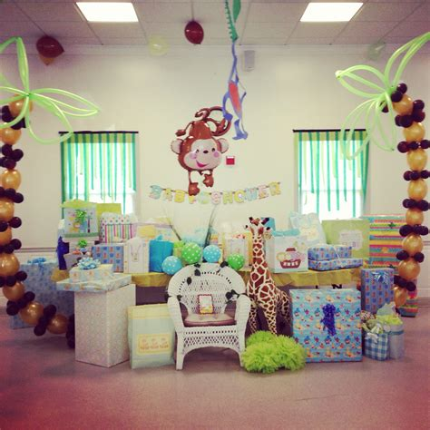 Decorating Ideas For Baby Shower Gift Table by Gift Table Jungle Themed Baby Shower Baby Shower