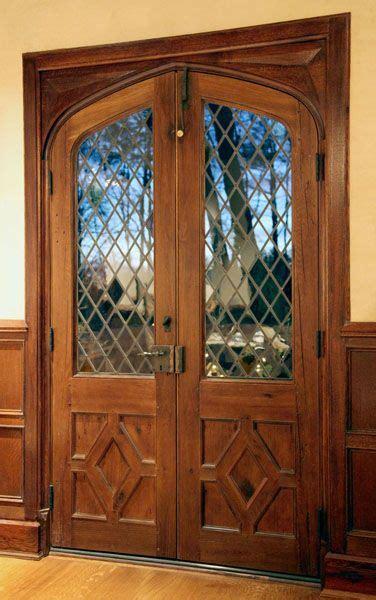 double doors  diamond pane leaded glass note