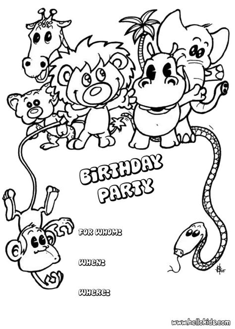 Animals : birthday party invitation coloring pages ...