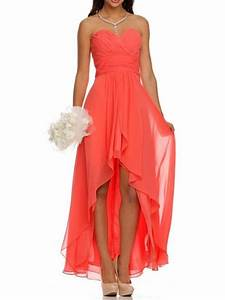 high low ruched bodice sweetheart layered coral wedding With coral dress for wedding guest