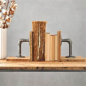 Pair, Of, Industrial, Wood, And, Steel, Bookends