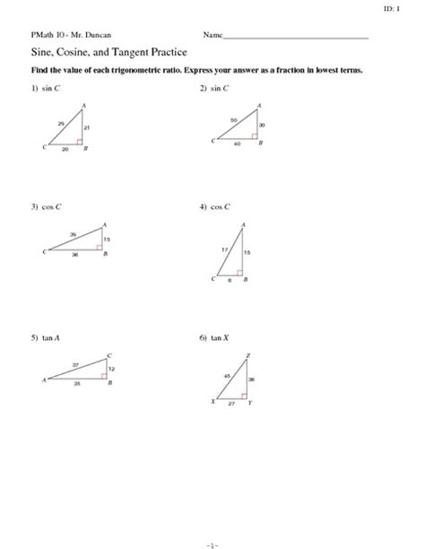 worksheets sine cosine and tangent practice worksheet