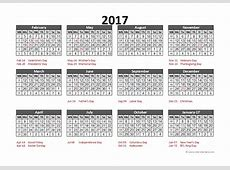 2017 Accounting Calendar 544 Free Printable Templates