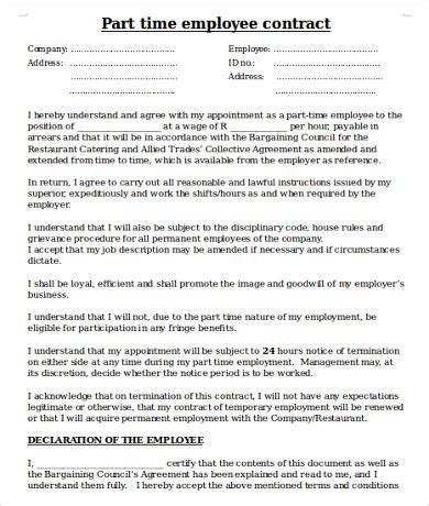 Employers Contract Template by Employee Contract Template 17 Free Word Pdf Documents