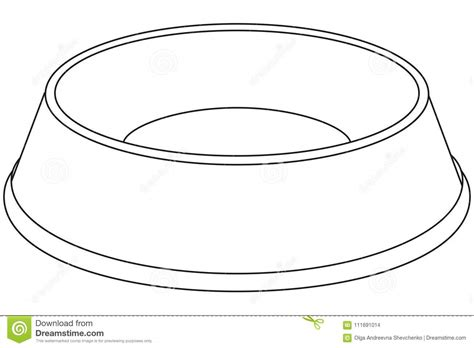 Line Art Black And White Empty Pet Food Bowl. Stock ...