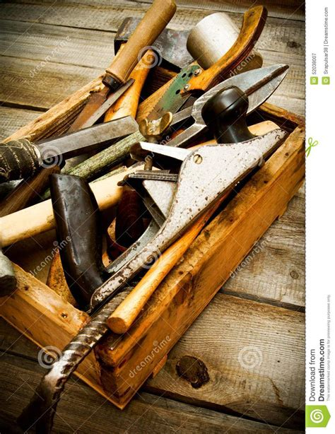 working tools  box  wooden background stock image
