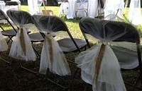 burlap chair covers WEDDING CHAIR COVERS with Burlap and ribbon . Easy to use ...