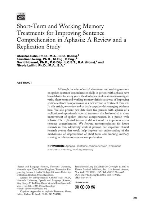 (pdf) Shortterm And Working Memory Treatments For Improving Sentence Comprehension In Aphasia