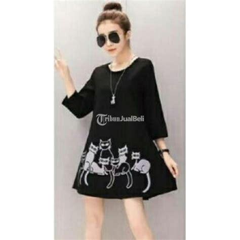 baju wanita mini dress korea style kaos cat kucing murah