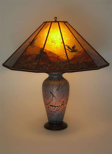 Artistic Lamp Shades by Lindsay Fne Art Glass Lamp And Art Mica Lamp Shade Cranes