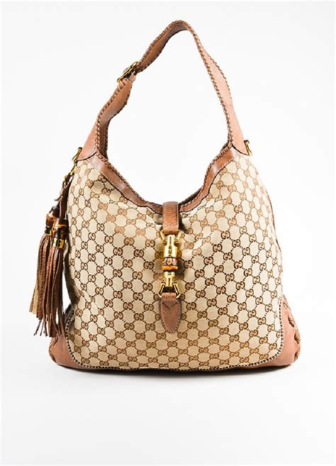 gucci tan monogram canvas leather large  jackie tassel hobo bag luxury garage sale