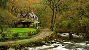 Full HD Wallpaper autumn river house forest, Desktop ...