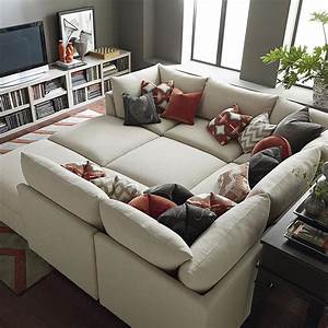 Custom upholstered pit shaped sectional for The pit sectional sofa