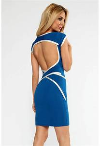 blue backless wrap strap dress n8604 With robe courte dos nu