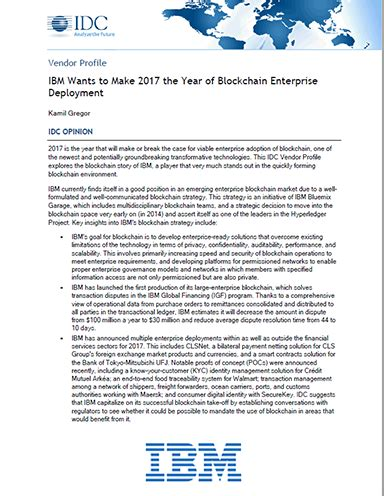 ibm wants to make 2017 the year of blockchain enterprise deployment supply chain 24 7 paper