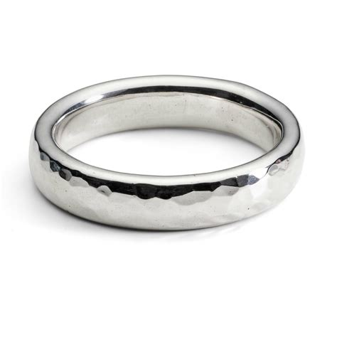 simple hammered heavy unisex silver ring handmade gold silver and gemstone scottish jewellery