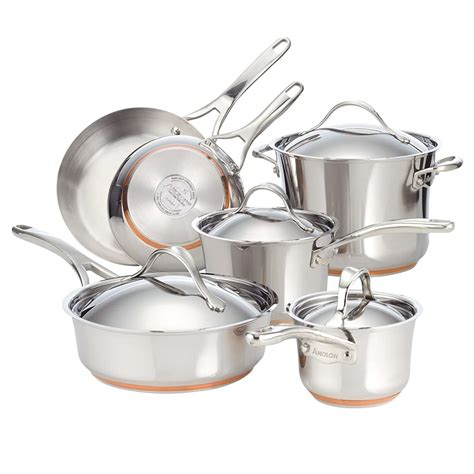 cookware induction stainless steel copper anolon nouvelle piece