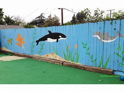 Ocean Mural Wall Outside Murals Fence Painted