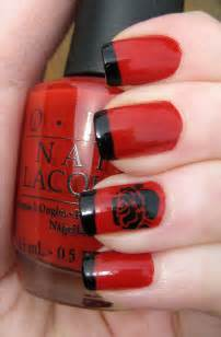 Red and Black Nail Design