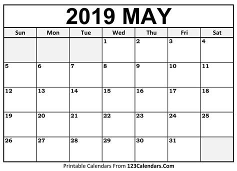 Printable May 2019 Calendar Templates