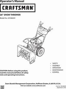 Craftsman 247886941 User Manual Snow Thrower Manuals And