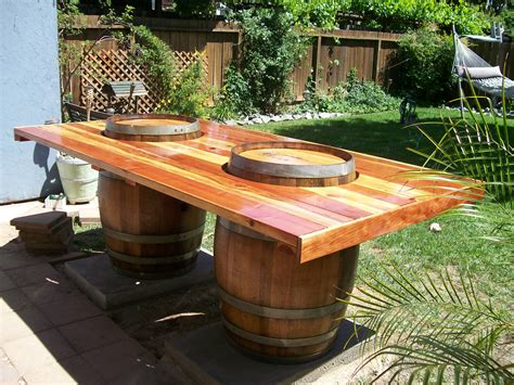 wine barrel table barrels buckets