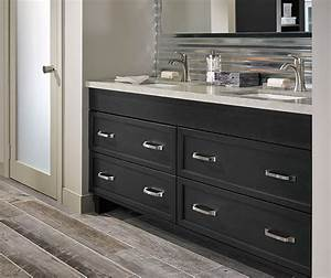 Dark gray cabinets in a casual bathroom kitchen craft for Kitchen craft bathroom vanities