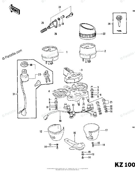 kawasaki motorcycle 1979 oem parts diagram for meters ignition switch 79 81c4 partzilla