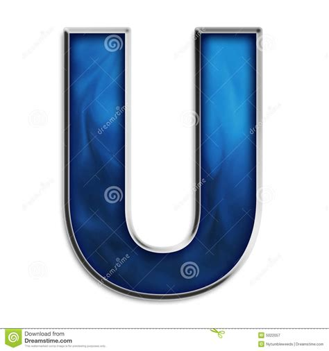 Isolated Letter U In Tribal Blue Stock Illustration