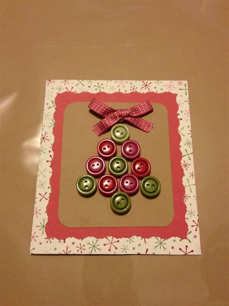 homemade christmas card  buttons diy christmas cards