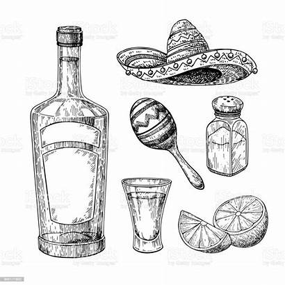Tequila Salt Drawing Bottle Glass Shot Shaker
