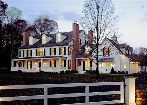 colonial exterior front dusk lighting home sweet home   house house styles house plans