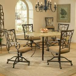 brookside metal round dining table caster chairs in