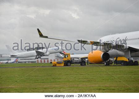 Thomas Cook aircraft taking off from Manchester Airport ...