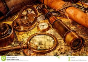 Old Compass and Map