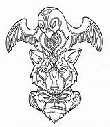 Coloring Totem Pole Wolf Native Popular sketch template