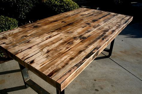 Hand Made Rustic Recycled Butcher Block Dinning Table by