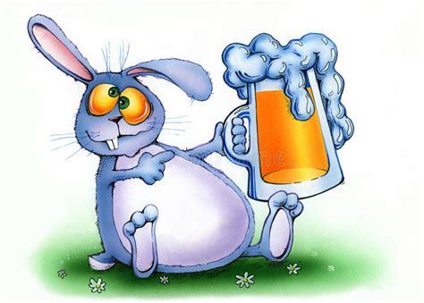 cartoon drinking alcohol drunken rabbit with a mug of beer stock illustration