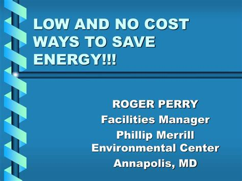ppt low and no cost ways to save energy powerpoint
