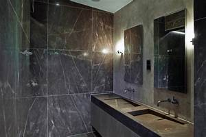 Le meuble salle de bain a double vasque convient a une for Salle de bain design avec vasque marbre noir