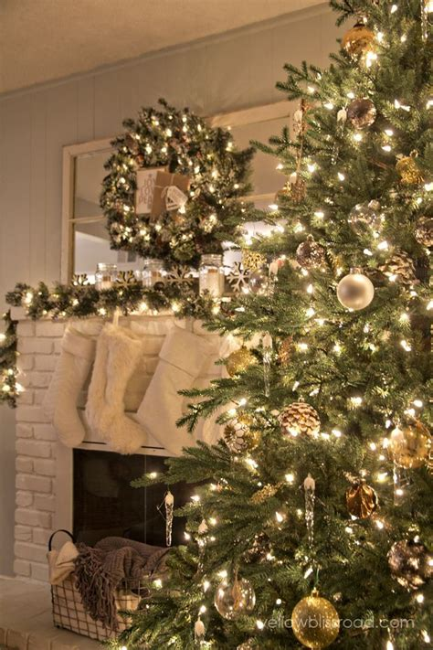 rustic glam christmas tree  mantel christmas
