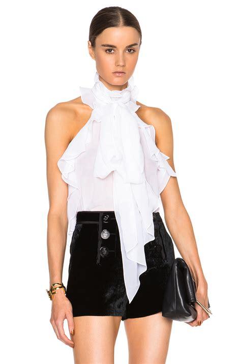 ruffled white blouse emilio pucci sleeveless ruffle blouse in white lyst