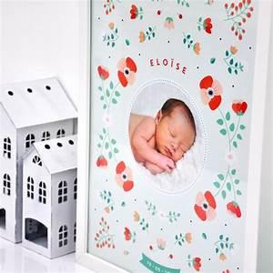 affiche de naissance scandinave personnalisee fleurs With affiche chambre bébé avec eau fleur oranger