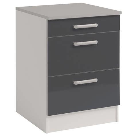 meuble bas cuisine gris meuble bas 3 tiroirs quot shiny quot 60cm gris