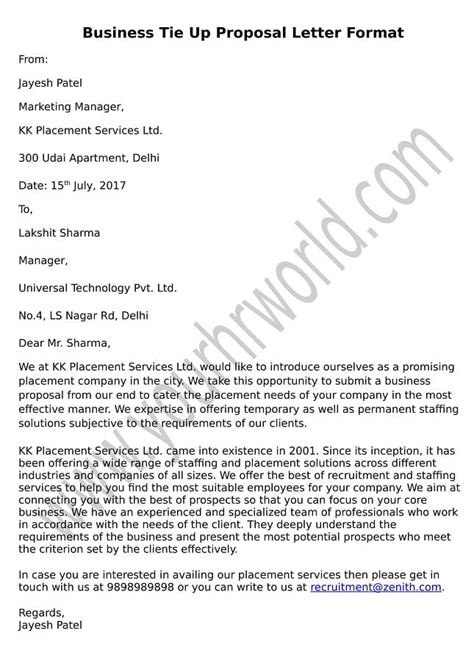 business tie  proposal letter format